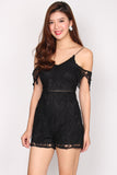 Randolph Crochet Drop Sleeve Romper In Black