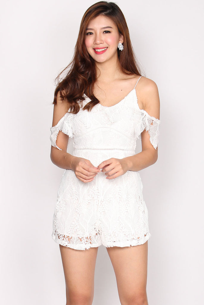 Randolph Crochet Drop Sleeve Romper In White