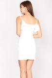 Raquel Frill Bodycon Dress In White