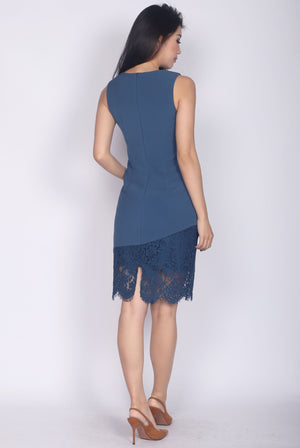 Rebecka Lace Asymm Pencil Dress In Ash Blue