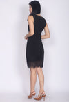 Rebecka Lace Asymm Pencil Dress In Black