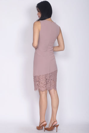 Rebecka Lace Asymm Pencil Dress In Blush