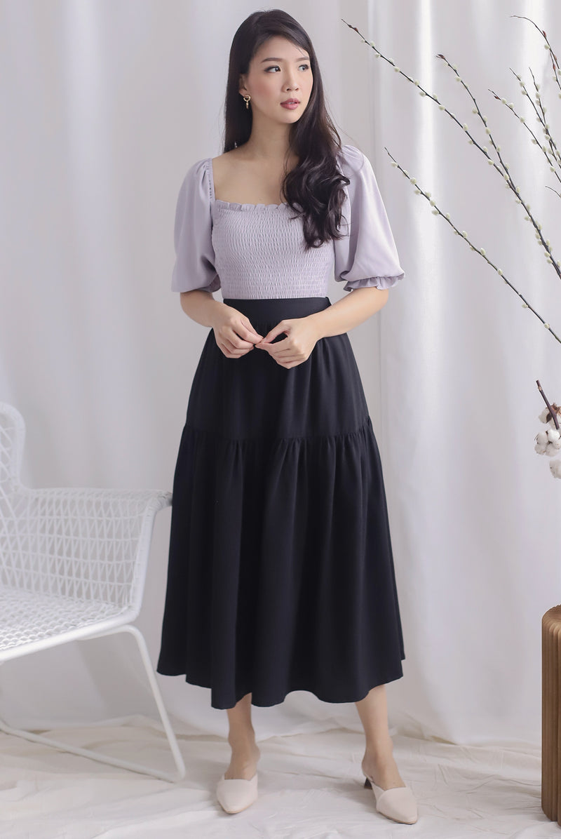 Rebekah Maxi Drop Hem Skirt In Black