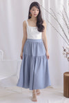 Rebekah Maxi Drop Hem Skirt In Skyblue