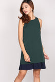 Rebekah Duo colour Pleated dress In Forest Green
