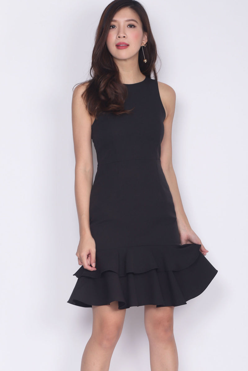 Reese Tiered Mermaid Dress In Black
