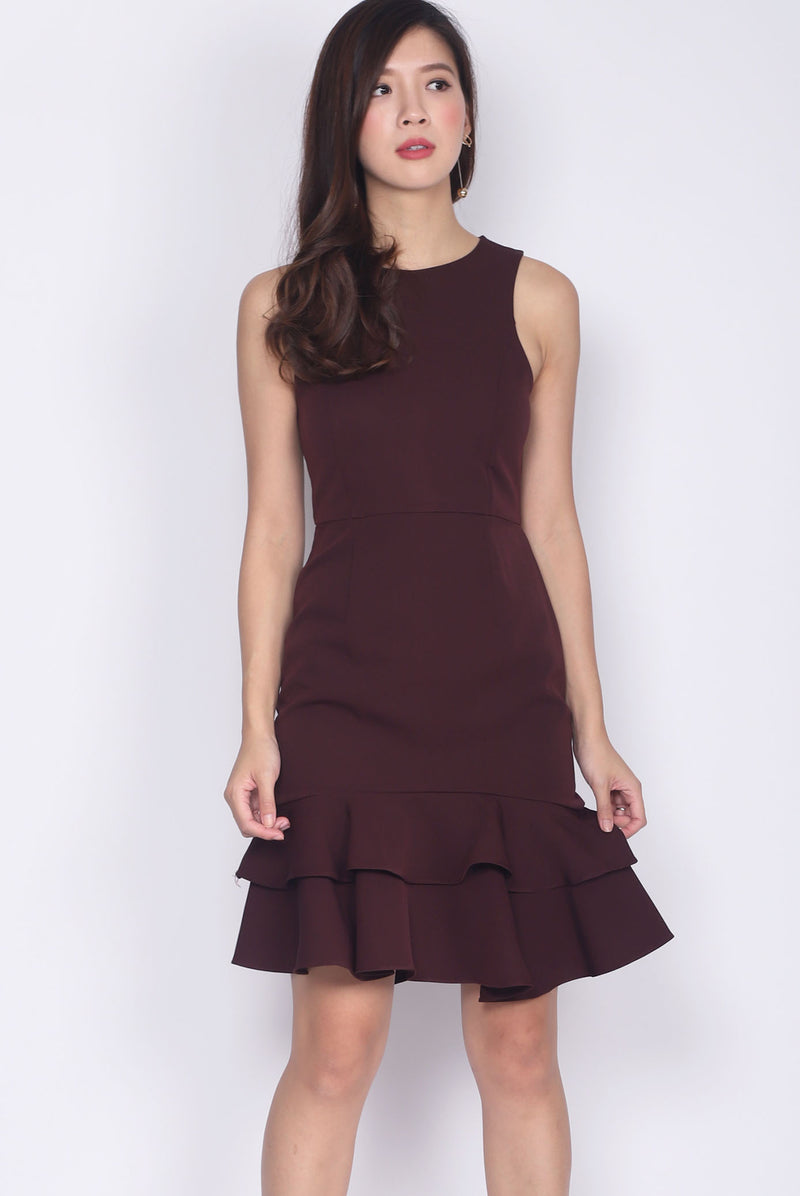 Reese Tiered Mermaid Dress In Deep Wine