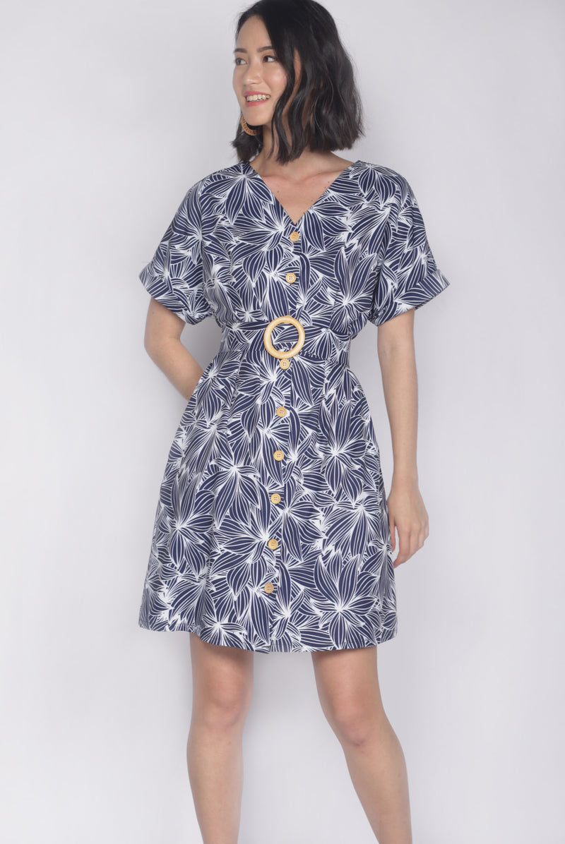 *Backorder* Reggie Buttons Wooden Ring Dress In Navy Blue