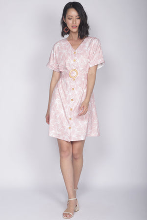 Reggie Buttons Wooden Ring Dress In Pink