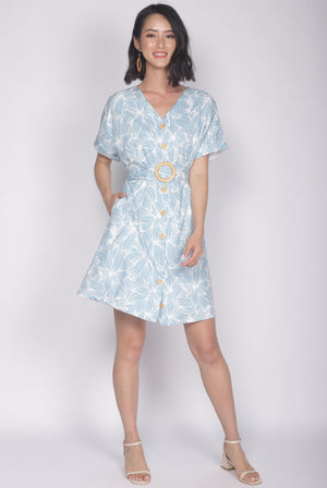 Reggie Buttons Wooden Ring Dress In Skyblue