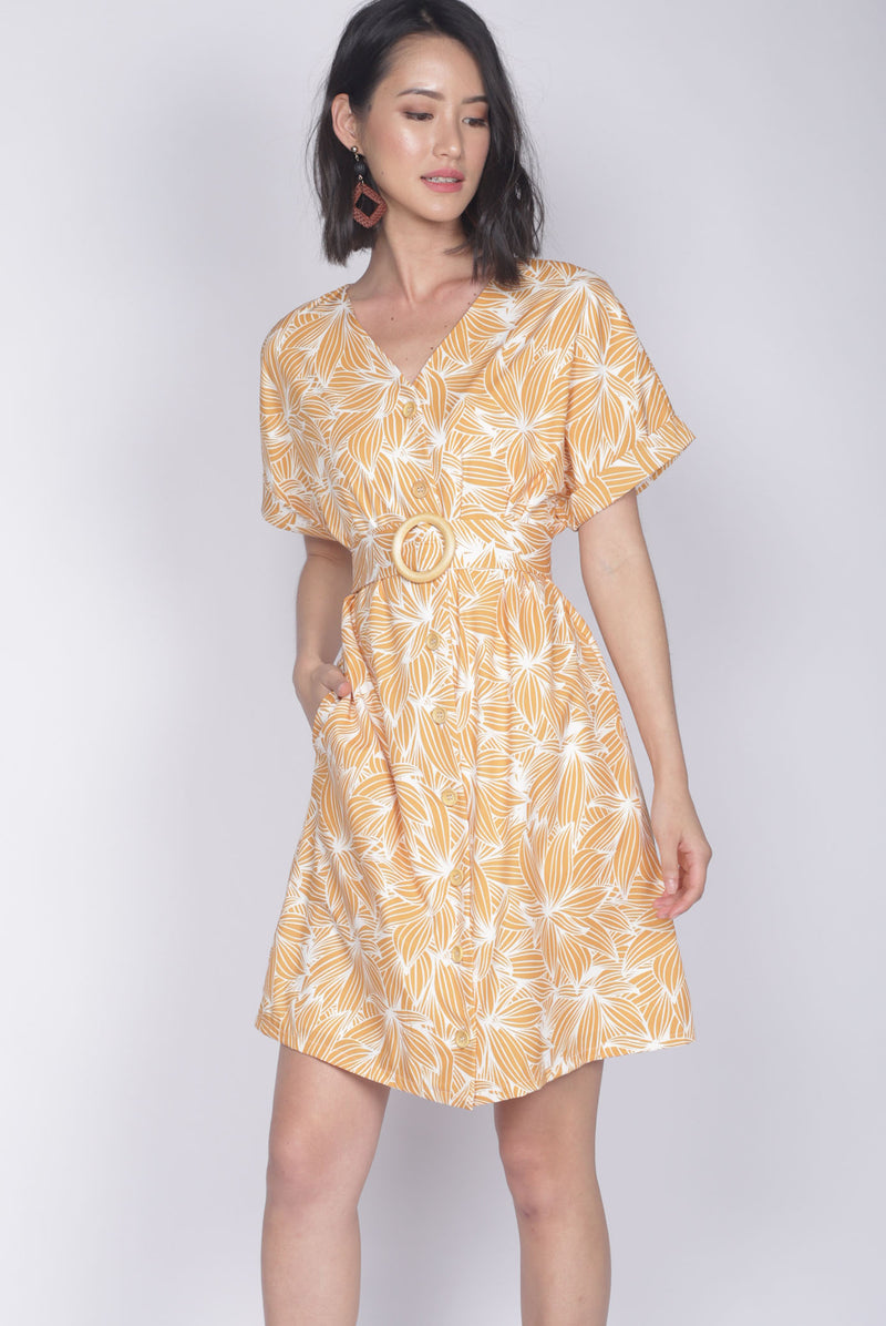 *Backorder* Reggie Buttons Wooden Ring Dress In Yellow