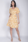 *Restocked Reggie Buttons Wooden Ring Dress In Yellow