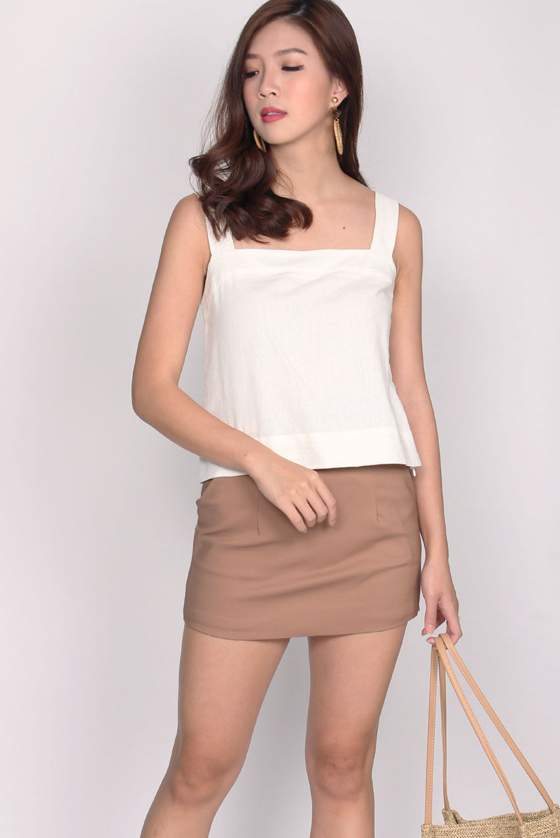 Reia Linen Top In White