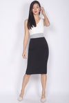 *Restocked* Reign Colour Block Work Dress In White Black