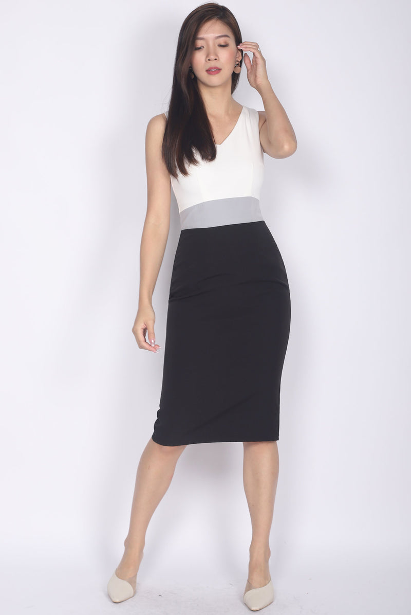 *Backorder* Reign Colour Block Work Dress In White Black