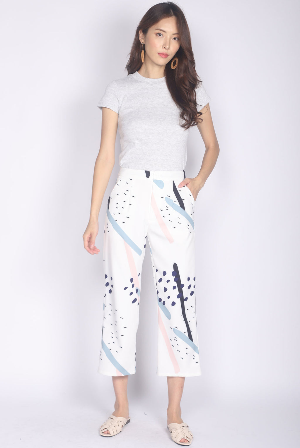 Remilia Abstract Dotty Pants In White