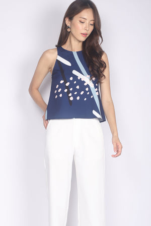 Remilia Abstract Dotty Tank Top In Navy Blue