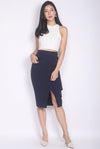 *Premium* Renesme Ring Pencil Skirt In Navy Blue