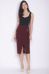 *Premium* Renesme Ring Pencil Skirt In Deep Wine
