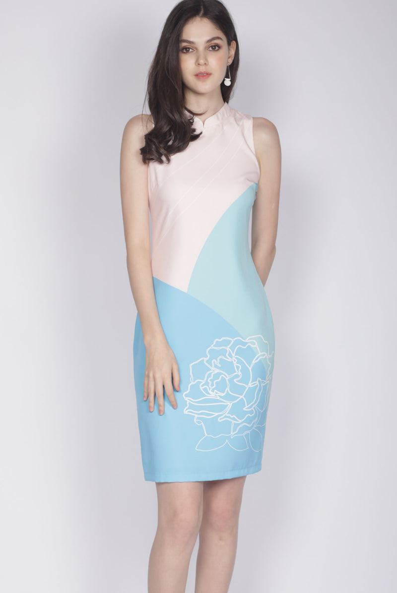 Reuinon Cheongsam Dress In Blue