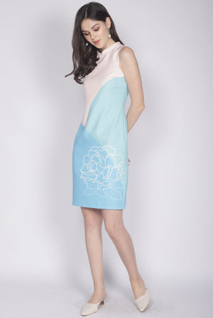 Reunion Cheongsam Dress In Blue