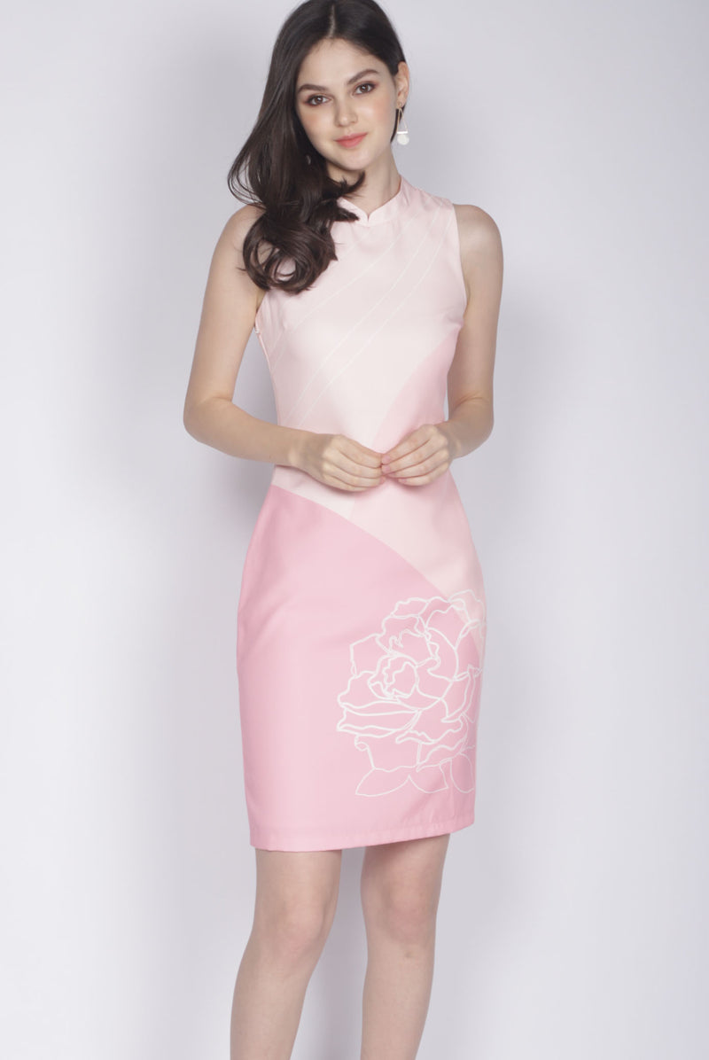 Reuinon Cheongsam Dress In Pink