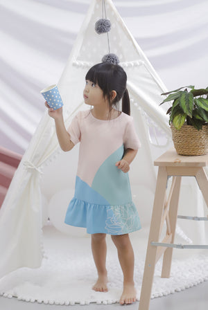 *Kids* Reunion Sleeved Drop Hem Dress In Blue