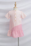 *Kids* Reunion Sleeved Drop Hem Dress In Pink