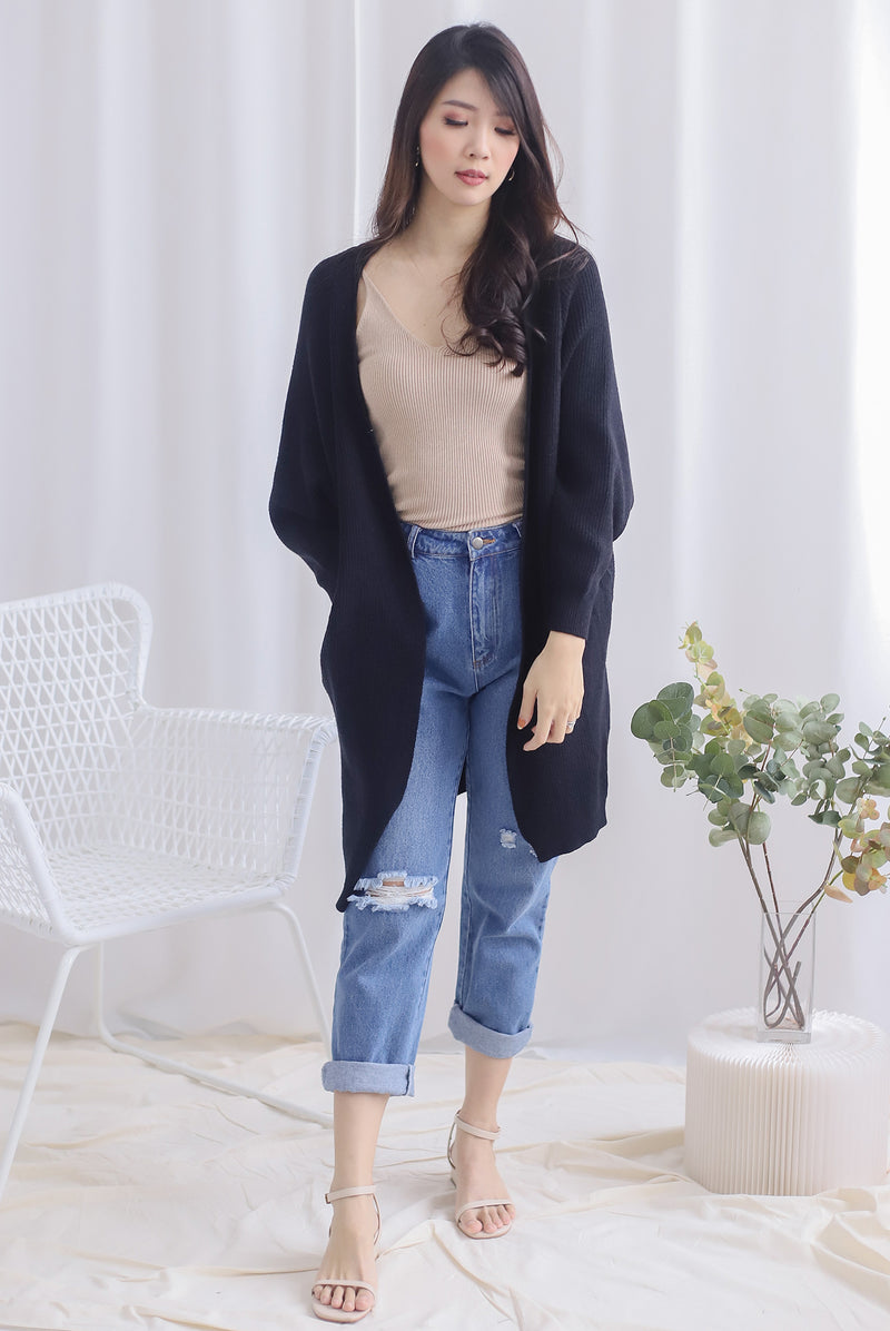 Reverie Long Knit Cardigan In Black