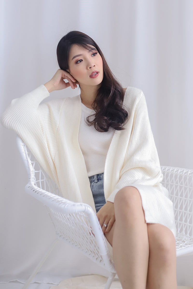 *Restocked* Reverie Long Knit Cardigan In Cream