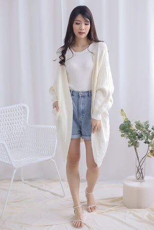 Reverie Long Knit Cardigan In Cream