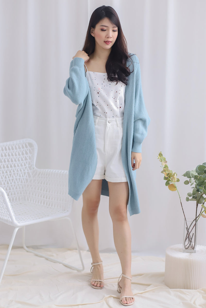 Reverie Long Knit Cardigan In Seafoam