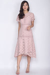 Revvie Hi Lo Lace Sleeve Midi Dress In Blush