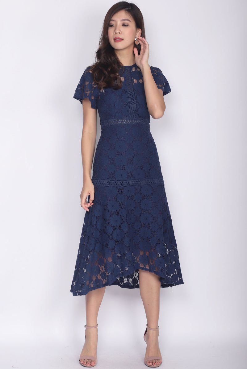 Revvie Hi Lo Lace Sleeve Midi Dress In Navy Blue