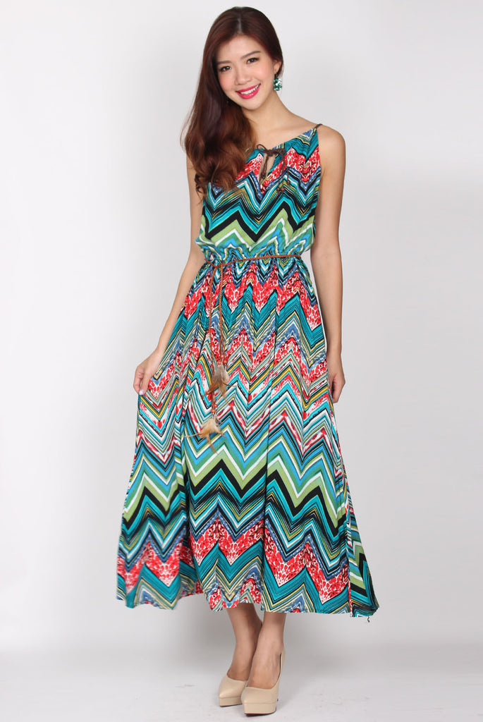 Riley Braids Halter Maxi Dress In Tropical
