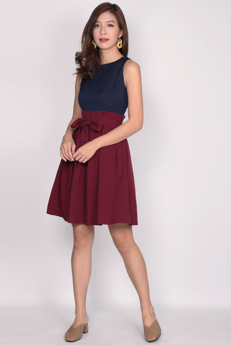 Roberta Colour Block Paperbag Dress In Navy Berry