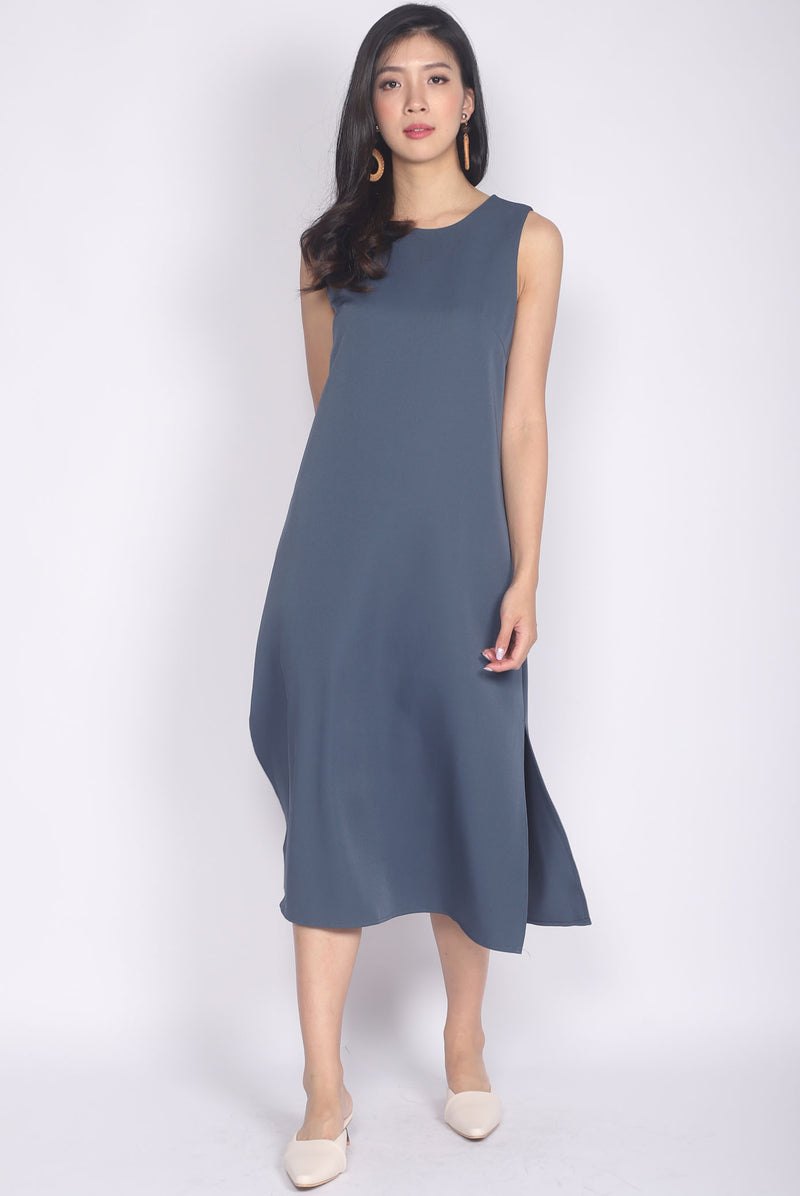 Roisin Side Slit Midi Dress In Ash Blue