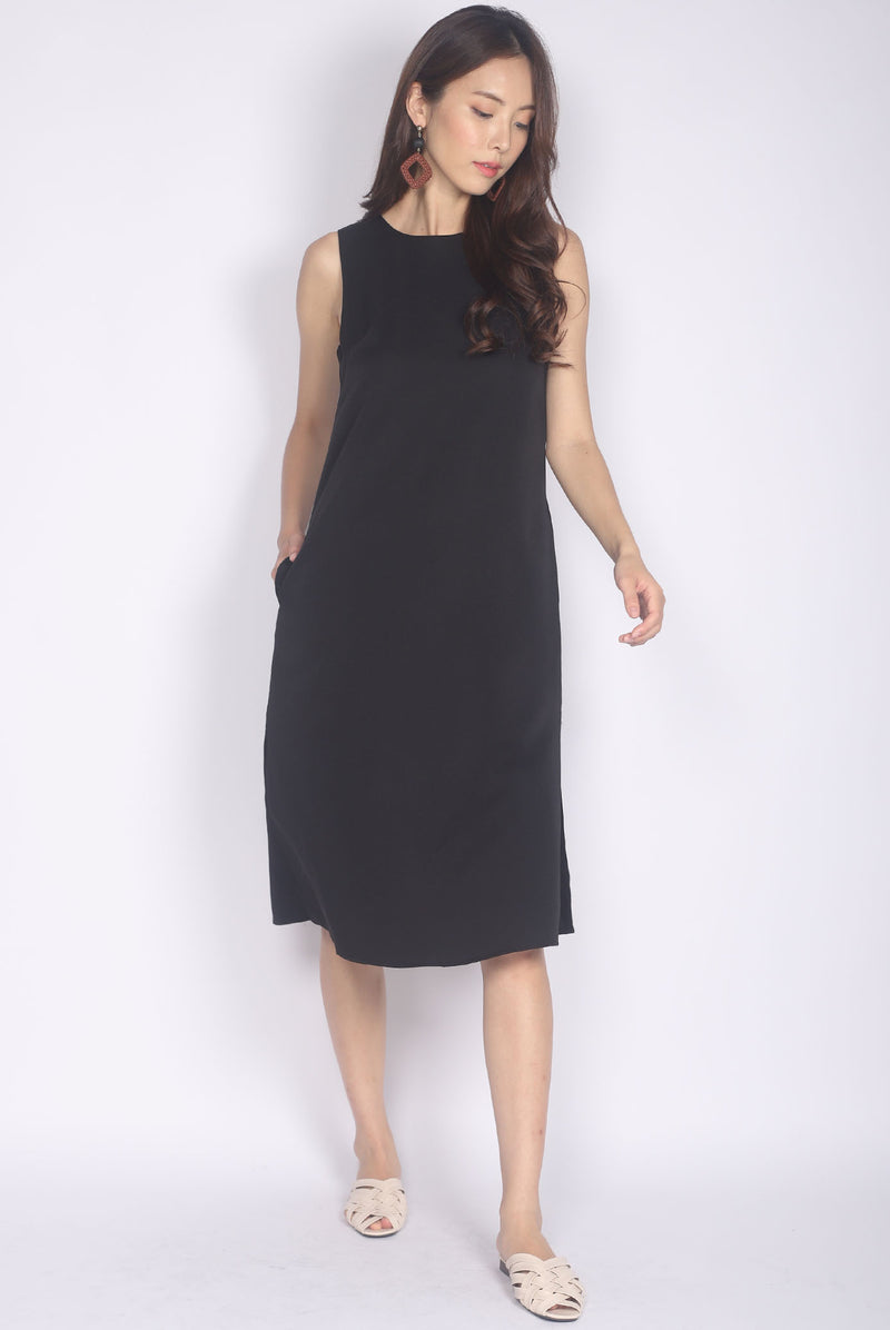Roisin Side Slit Midi Dress In Black