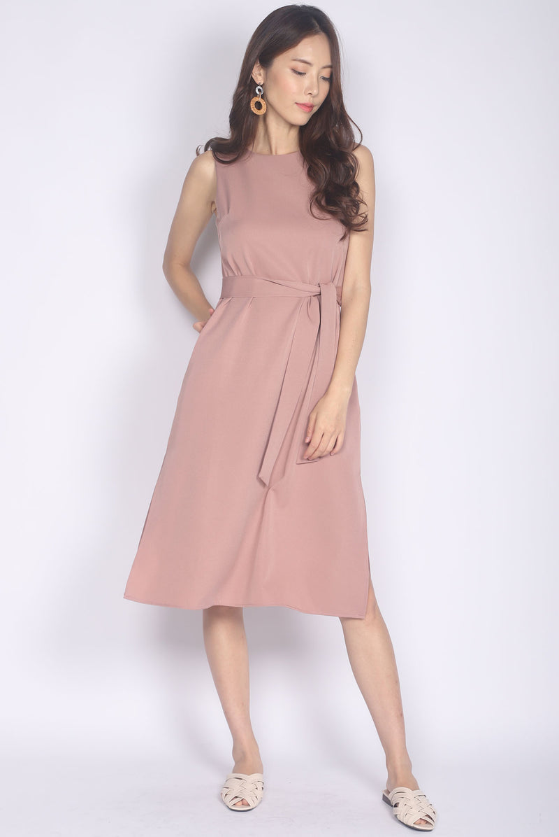 Roisin Side Slit Midi Dress In Blush