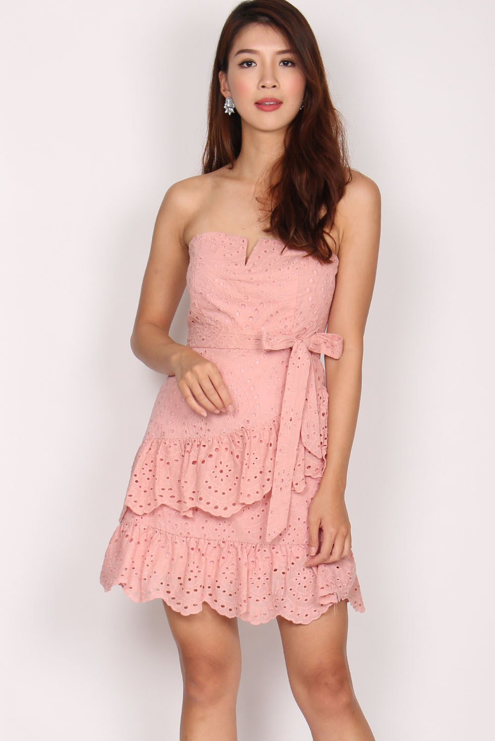 5a0178d17e8 Romane Eyelet Tier Frill Tube Dress In Pink