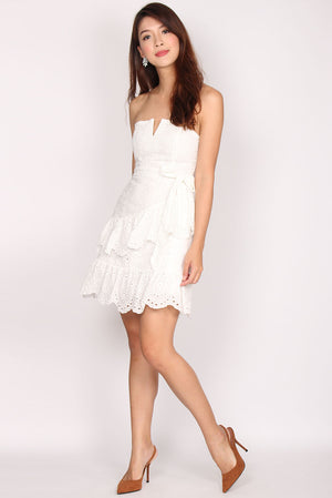 Romane Eyelet Tier Frill Tube Dress In White