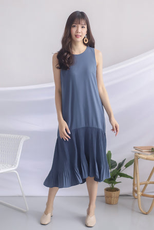 Rosabella Pleated Hem Midi Dress In Steel Blue