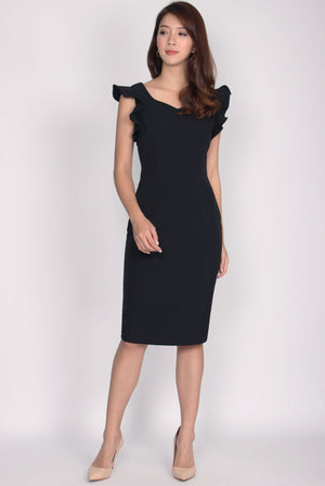 *Premium* Rosaria 2 Ways Sleeve Pencil Dress In Black