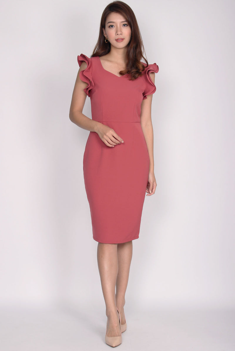 *Premium* Rosaria 2 Ways Sleeve Pencil Dress In Tea Rose