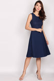 Rosario Crochet Pleated Midi Dress In Navy Blue