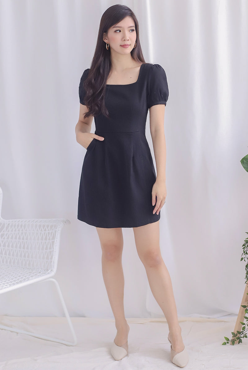 Roselynn Faux Buttons Denim Dress In Black