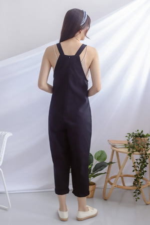 Rubi Buttons Dungarees In Black