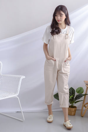Rubi Buttons Dungarees In Oats