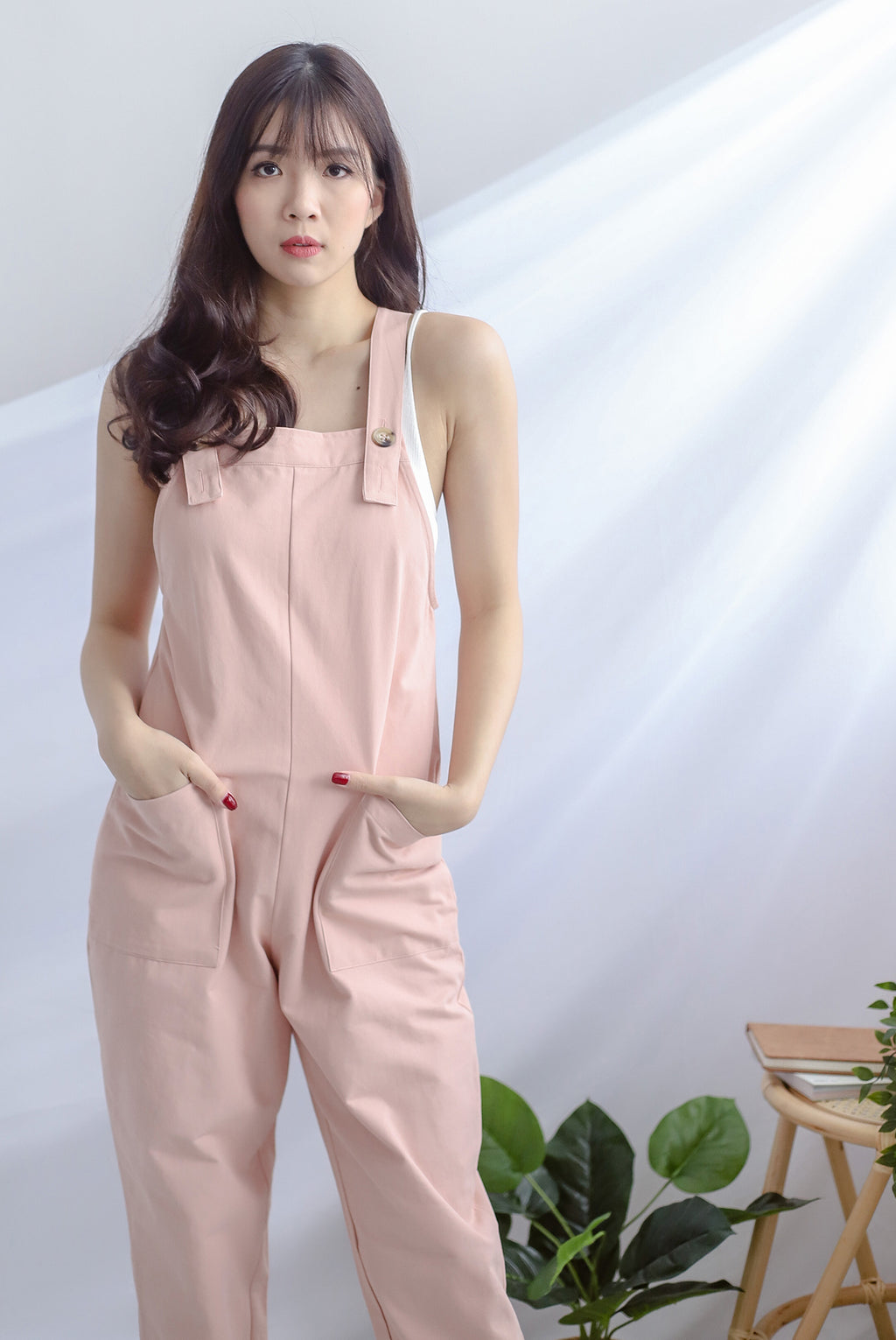 Rubi Buttons Dungarees In Pink