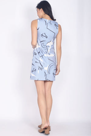 Rute Abstract Pockets Shift Dress In Blue